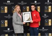 25 April 2019; Rachel Lea Stuart Business Development Executive with So Hotels presents Alex Kavanagh from Shelbourne Ladies F.C. with her So Hotels Women's National League Player of the Month Award for March, at the Football Association of Ireland Headquarters in Abbotstown, Dublin. Photo by Matt Browne/Sportsfile