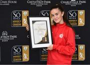 25 April 2019; Alex Kavanagh from Shelbourne Ladies F.C. with her So Hotels Women's National League Player of the Month Award for March, Presentation at the Football Association of Ireland Headquarters in Abbotstown, Dublin. Photo by Matt Browne/Sportsfile