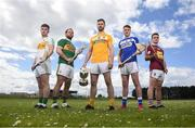 25 April 2019; In attendance, from left, Eoghan Cahill of Offaly, Mikey Boyle of Kerry, Neil McManus of Antrim, Paddy Purcell of Laois and Aonghus Clarke of Westmeath during the Joe McDonagh Competition promotion at Ballindaerreen GAA Club which was the club of Joe McDonagh in Ballinaderreen, Co Galway. Photo by David Fitzgerald/Sportsfile