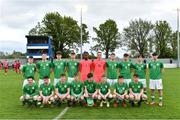 25 April 2019; The Republic of Ireland squad before the SAFIB Centenary Shield Under 18 Boys' International match between Republic of Ireland and Wales at Home Farm FC in Whitehall, Dublin. Photo by Matt Browne/Sportsfile