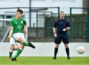 25 April 2019; Brandon Bermingham of Republic of Ireland scores from the penalty spot during the SAFIB Centenary Shield Under 18 Boys' International match between Republic of Ireland and Wales at Home Farm FC in Whitehall, Dublin. Photo by Matt Browne/Sportsfile