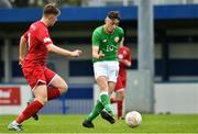 25 April 2019; Brandon Bermingham of Republic of Ireland scores the second goal against Wales during the SAFIB Centenary Shield Under 18 Boys' International match between Republic of Ireland and Wales at Home Farm FC in Whitehall, Dublin. Photo by Matt Browne/Sportsfile