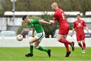 25 April 2019; Brandon Bermingham of Republic of Ireland in action against Lee Jenkins of Wales during the SAFIB Centenary Shield Under 18 Boys' International match between Republic of Ireland and Wales at Home Farm FC in Whitehall, Dublin. Photo by Matt Browne/Sportsfile