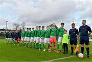 25 April 2019; The Republic of Ireland squad stand for the national anthem before the SAFIB Centenary Shield Under 18 Boys' International match between Republic of Ireland and Wales at Home Farm FC in Whitehall, Dublin. Photo by Matt Browne/Sportsfile