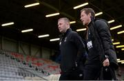 26 April 2019; Waterford manager Alan Reynolds, left, and first team coach Joe Gamble arrive ahead of the SSE Airtricity League Premier Division match between Bohemians and Waterford at Dalymount Park in Dublin. Photo by Sam Barnes/Sportsfile