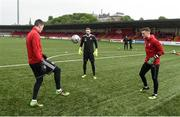 26 April 2019; Derry City goalkeepers Dan Houghton, Peter Cherrie and Nathan Gartside before the warm up before the SSE Airtricity League Premier Division match between Derry City and Cork City at the Ryan McBride Brandywell Stadium in Derry. Photo by Oliver McVeigh/Sportsfile