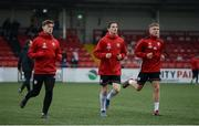 26 April 2019; Eoghan Stokes, Ciarán Coll and Jack Malone of Derry City warm up prior to the SSE Airtricity League Premier Division match between Derry City and Cork City at the Ryan McBride Brandywell Stadium in Derry. Photo by Oliver McVeigh/Sportsfile