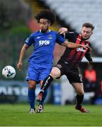26 April 2019; Bastien Héry of Waterford in action against Conor Levingston of Bohemians during the SSE Airtricity League Premier Division match between Bohemians and Waterford at Dalymount Park in Dublin. Photo by Sam Barnes/Sportsfile
