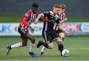 26 April 2019; Darragh Rainsford of Cork City in action against Junior Ogedi-Uzokwe and Ciaron Harkin of Derry City during the SSE Airtricity League Premier Division match between Derry City and Cork City at the Ryan McBride Brandywell Stadium in Derry. Photo by Oliver McVeigh/Sportsfile