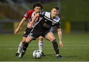 26 April 2019; James Tilley of Cork City in action against Barry McNamee of Derry City during the SSE Airtricity League Premier Division match between Derry City and Cork City at the Ryan McBride Brandywell Stadium in Derry. Photo by Oliver McVeigh/Sportsfile