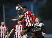 26 April 2019; Junior Ogedi-Uzokwe of Derry City in action against Karl Sheppard of Cork City during the SSE Airtricity League Premier Division match between Derry City and Cork City at the Ryan McBride Brandywell Stadium in Derry. Photo by Oliver McVeigh/Sportsfile