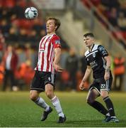 26 April 2019; Greg Sloggett of Derry City in action against James Tilley of Cork City during the SSE Airtricity League Premier Division match between Derry City and Cork City at the Ryan McBride Brandywell Stadium in Derry. Photo by Oliver McVeigh/Sportsfile