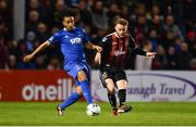 26 April 2019; Conor Levingston of Bohemians in action against Bastien Héry of Waterford during the SSE Airtricity League Premier Division match between Bohemians and Waterford at Dalymount Park in Dublin. Photo by Sam Barnes/Sportsfile