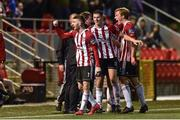 26 April 2019; Jamie McDonagh of Derry City left, celebrates after scoring his sides second goal during the SSE Airtricity League Premier Division match between Derry City and Cork City at the Ryan McBride Brandywell Stadium in Derry. Photo by Oliver McVeigh/Sportsfile