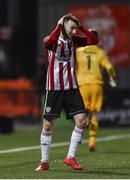 26 April 2019; Jamie McDonagh of Derry City holds his head after missing a penalty late on during the SSE Airtricity League Premier Division match between Derry City and Cork City at the Ryan McBride Brandywell Stadium in Derry. Photo by Oliver McVeigh/Sportsfile