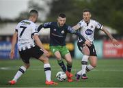 26 April 2019; Jack Byrne of Shamrock Rovers in action against Patrick McEleney, right, and Michael Duffy of Dundalk during the SSE Airtricity League Premier Division match between Dundalk and Shamrock Rovers at Oriel Park in Dundalk, Louth. Photo by Seb Daly/Sportsfile