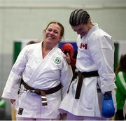 27 April 2019; Liz Fagan of Ireland, left, and Patricia Wright of Canada in action during the I-Karate 3rd World Cup at DCU in Dublin. Photo by David Fitzgerald/Sportsfile