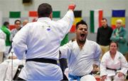 27 April 2019; Tarun Sharma of India in action during the I-Karate 3rd World Cup at DCU in Dublin. Photo by David Fitzgerald/Sportsfile