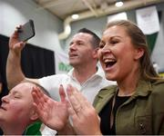 27 April 2019; Parents of Ireland's Alex Hoban, Olwyn and Tony cheer on their son during the I-Karate 3rd World Cup at DCU in Dublin. Photo by David Fitzgerald/Sportsfile