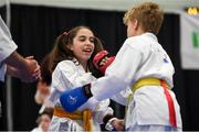 27 April 2019; Marisa Trekels and Yennis Philipens of Belgium embrace during the I-Karate 3rd World Cup at DCU in Dublin. Photo by David Fitzgerald/Sportsfile