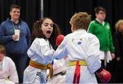 27 April 2019; Marisa Trekels and Yennis Philipens of Belgium in action during the I-Karate 3rd World Cup at DCU in Dublin. Photo by David Fitzgerald/Sportsfile