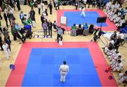 27 April 2019; Judges score a competitor during the I-Karate 3rd World Cup at DCU in Dublin. Photo by David Fitzgerald/Sportsfile