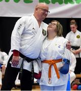 27 April 2019; Brenda Paulissen of Belgium with Belgium coach Pasqual Faes during the I-Karate 3rd World Cup at DCU in Dublin. Photo by David Fitzgerald/Sportsfile