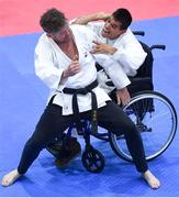 27 April 2019; Jaime Fernandez-Gonzalez, right, in action against coach Rien Nieuwesteeg during the I-Karate 3rd World Cup at DCU in Dublin. Photo by David Fitzgerald/Sportsfile