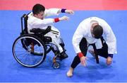 27 April 2019; Gary Mangan of Ireland, left, in action against coach Brian Carroll during the I-Karate 3rd World Cup at DCU in Dublin. Photo by David Fitzgerald/Sportsfile