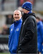 27 April 2019; Leinster Senior coach Stuart Lancaster, left, and Head coach Leo Cullen prior to the Guinness PRO14 Round 21 match between Ulster and Leinster at the Kingspan Stadium in Belfast. Photo by Oliver McVeigh/Sportsfile