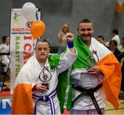 27 April 2019; Darren Kidd of Ireland celebrates his third prize award with coach Jason McGoldrick during the I-Karate 3rd World Cup at DCU in Dublin. Photo by David Fitzgerald/Sportsfile