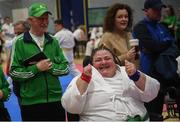 27 April 2019; Helen Martins of Ireland celebrates after competing during the I-Karate 3rd World Cup at DCU in Dublin. Photo by David Fitzgerald/Sportsfile