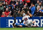 27 April 2019; Fergus McFadden of Leinster goes over to score his side's second try despite the tackle of Michael Lowry of Ulster during the Guinness PRO14 Round 21 match between Ulster and Leinster at the Kingspan Stadium in Belfast. Photo by Oliver McVeigh/Sportsfile