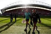 27 April 2019; Niall Scannell and Rhys Marshall of Munster prior to the Guinness PRO14 Round 21 match between Munster and Connacht at Thomond Park in Limerick. Photo by Diarmuid Greene/Sportsfile
