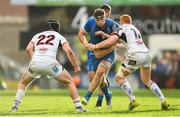 27 April 2019; Caelan Doris of Leinster is tackled by Jack Owens, left, and Peter Nelson of Ulster during the Guinness PRO14 Round 21 match between Ulster and Leinster at the Kingspan Stadium in Belfast. Photo by Ramsey Cardy/Sportsfile