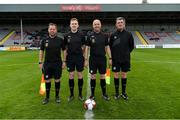 27 April 2019; Match officals, from left, David Gallagher, Dylan Redmond, Joseph McDonnell and Gary Clarke prior to the FAI Under-17 Cup Final match between St Kevin's Boys and Blarney United at Dalymount Park in Dublin. Photo by Barry Cregg/Sportsfile