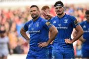 27 April 2019; Dave Kearney, left, Max Deegan of Leinster during the Guinness PRO14 Round 21 match between Ulster and Leinster at the Kingspan Stadium in Belfast. Photo by Oliver McVeigh/Sportsfile