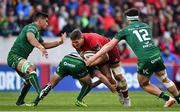 27 April 2019; Dan Goggin of Munster is tackled by Conor Dean of Connacht during the Guinness PRO14 Round 21 match between Munster and Connacht at Thomond Park in Limerick. Photo by Brendan Moran/Sportsfile