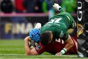 27 April 2019; Tadhg Beirne of Munster goes over to score his side's first try during the Guinness PRO14 Round 21 match between Munster and Connacht at Thomond Park in Limerick. Photo by Brendan Moran/Sportsfile
