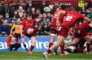 27 April 2019; Neil Cronin of Munster plays a box kick during the Guinness PRO14 Round 21 match between Munster and Connacht at Thomond Park in Limerick. Photo by Diarmuid Greene/Sportsfile