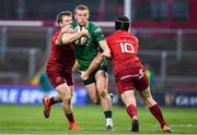 27 April 2019; Stephen Fitzgerald of Connacht is tackled by Neil Cronin and Tyler Bleyendaal of Munster during the Guinness PRO14 Round 21 match between Munster and Connacht at Thomond Park in Limerick. Photo by Brendan Moran/Sportsfile