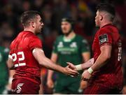 27 April 2019; JJ Hanrahan of Munster celebrates with team-mate Calvin Nash after scoring his side's third try during the Guinness PRO14 Round 21 match between Munster and Connacht at Thomond Park in Limerick. Photo by Diarmuid Greene/Sportsfile