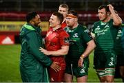 27 April 2019; Bundee Aki of Connacht and Andrew Conway of Munster greet each other after the Guinness PRO14 Round 21 match between Munster and Connacht at Thomond Park in Limerick. Photo by Diarmuid Greene/Sportsfile