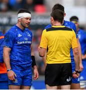 27 April 2019; Referee George Clancy speaks to Fergus McFadden of Leinster during the Guinness PRO14 Round 21 match between Ulster and Leinster at the Kingspan Stadium in Belfast. Photo by Ramsey Cardy/Sportsfile