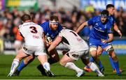27 April 2019; Michael Bent of Leinster is tackled by Ross Kane, left, and Andy Warwick of Ulster during the Guinness PRO14 Round 21 match between Ulster and Leinster at the Kingspan Stadium in Belfast. Photo by Ramsey Cardy/Sportsfile