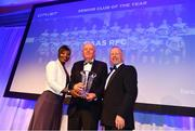 28 April 2019; Naas RFC President Phil Kiely is presented with the CityJet Senior Club of the Year award by Astou N'Diaye, Marketing Manager, CityJet, and Leinster Branch President Lorcan Balfe. The Leinster Rugby Awards Ball, taking place at the InterContinental Dublin and MC'd by Darragh Maloney, were a celebration of the 2018/19 Leinster Rugby season to date and over the course of the evening Leinster Rugby acknowledged the contributions of departees Seán O'Brien, Jack McGrath, Noel Reid, Mick Kearney, Nick McCarthy, Tom Daly and Ian Nagle. Former Leinster, Ireland and British & Irish Lions player Paul Dean was inducted into the Guinness Hall of Fame. Some of the other Award winners on the night included; St. Michael's College (Deep River Rock School of the Year), Larry Halpin, Terenure College (Beauchamps Contribution to Leinster Rugby Award), Naas RFC (CityJet Senior Club of the Year), Patrician Secondary School Newbridge (Irish Independent Development School of the Year Award), Suttonians RFC (Bank of Ireland Junior Club of the Year) and Sene Naoupu (Energia Women's Rugby Award). Photo by Ramsey Cardy/Sportsfile