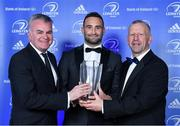 28 April 2019; Dave Kearney is presented with the Irish Independent Try of the Year award by David Courtney, left, Group Head of Sport, Independent News and Media, , in the company of Leinster Branch President Lorcan Balfe, for his try against Toulouse in the Heineken Champions Cup Round 5 game in the RDS. The Leinster Rugby Awards Ball, taking place at the InterContinental Dublin and MC'd by Darragh Maloney, were a celebration of the 2018/19 Leinster Rugby season to date and over the course of the evening Leinster Rugby acknowledged the contributions of departees Seán O'Brien, Jack McGrath, Noel Reid, Mick Kearney, Nick McCarthy, Tom Daly and Ian Nagle. Former Leinster, Ireland and British & Irish Lions player Paul Dean was inducted into the Guinness Hall of Fame. Some of the other Award winners on the night included; St. Michael's College (Deep River Rock School of the Year), Larry Halpin, Terenure College (Beauchamps Contribution to Leinster Rugby Award), Naas RFC (CityJet Senior Club of the Year), Patrician Secondary School Newbridge (Irish Independent Development School of the Year Award), Suttonians RFC (Bank of Ireland Junior Club of the Year) and Sene Naoupu (Energia Women's Rugby Award). Photo by Brendan Moran/Sportsfile