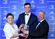 28 April 2019; James Ryan is presented with the Bank of Ireland Player's Player of the Year by Paula Murphy, Head of Strategic Sponsorship, Bank of Ireland, in the company of Leinster Branch President Lorcan Balfe. The Leinster Rugby Awards Ball, taking place at the InterContinental Dublin and MC'd by Darragh Maloney, were a celebration of the 2018/19 Leinster Rugby season to date and over the course of the evening Leinster Rugby acknowledged the contributions of departees Seán O'Brien, Jack McGrath, Noel Reid, Mick Kearney, Nick McCarthy, Tom Daly and Ian Nagle. Former Leinster, Ireland and British & Irish Lions player Paul Dean was inducted into the Guinness Hall of Fame. Some of the other Award winners on the night included; St. Michael's College (Deep River Rock School of the Year), Larry Halpin, Terenure College (Beauchamps Contribution to Leinster Rugby Award), Naas RFC (CityJet Senior Club of the Year), Patrician Secondary School Newbridge (Irish Independent Development School of the Year Award), Suttonians RFC (Bank of Ireland Junior Club of the Year) and Sene Naoupu (Energia Women's Rugby Award). Photo by Brendan Moran/Sportsfile