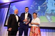 28 April 2019; James Ryan, centre, is presented with the Bank of Ireland Players Player of the Year by Paula Murphy, Head of Strategic Sponsorship, Bank of Ireland, and Leinster Branch President Lorcan Balfe. The Leinster Rugby Awards Ball, taking place at the InterContinental Dublin and MC'd by Darragh Maloney, were a celebration of the 2018/19 Leinster Rugby season to date and over the course of the evening Leinster Rugby acknowledged the contributions of departees Seán O'Brien, Jack McGrath, Noel Reid, Mick Kearney, Nick McCarthy, Tom Daly and Ian Nagle. Former Leinster, Ireland and British & Irish Lions player Paul Dean was inducted into the Guinness Hall of Fame. Some of the other Award winners on the night included; St. Michael's College (Deep River Rock School of the Year), Larry Halpin, Terenure College (Beauchamps Contribution to Leinster Rugby Award), Naas RFC (CityJet Senior Club of the Year), Patrician Secondary School Newbridge (Irish Independent Development School of the Year Award), Suttonians RFC (Bank of Ireland Junior Club of the Year) and Sene Naoupu (Energia Women's Rugby Award). Photo by Ramsey Cardy/Sportsfile