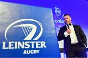 28 April 2019; Leinster Rugby departee Sean O'Brien is interviewed on stage. The Leinster Rugby Awards Ball, taking place at the InterContinental Dublin and MC'd by Darragh Maloney, were a celebration of the 2018/19 Leinster Rugby season to date and over the course of the evening Leinster Rugby acknowledged the contributions of departees Seán O'Brien, Jack McGrath, Noel Reid, Mick Kearney, Nick McCarthy, Tom Daly and Ian Nagle. Former Leinster, Ireland and British & Irish Lions player Paul Dean was inducted into the Guinness Hall of Fame. Some of the other Award winners on the night included; St. Michael's College (Deep River Rock School of the Year), Larry Halpin, Terenure College (Beauchamps Contribution to Leinster Rugby Award), Naas RFC (CityJet Senior Club of the Year), Patrician Secondary School Newbridge (Irish Independent Development School of the Year Award), Suttonians RFC (Bank of Ireland Junior Club of the Year) and Sene Naoupu (Energia Women's Rugby Award). Photo by Ramsey Cardy/Sportsfile